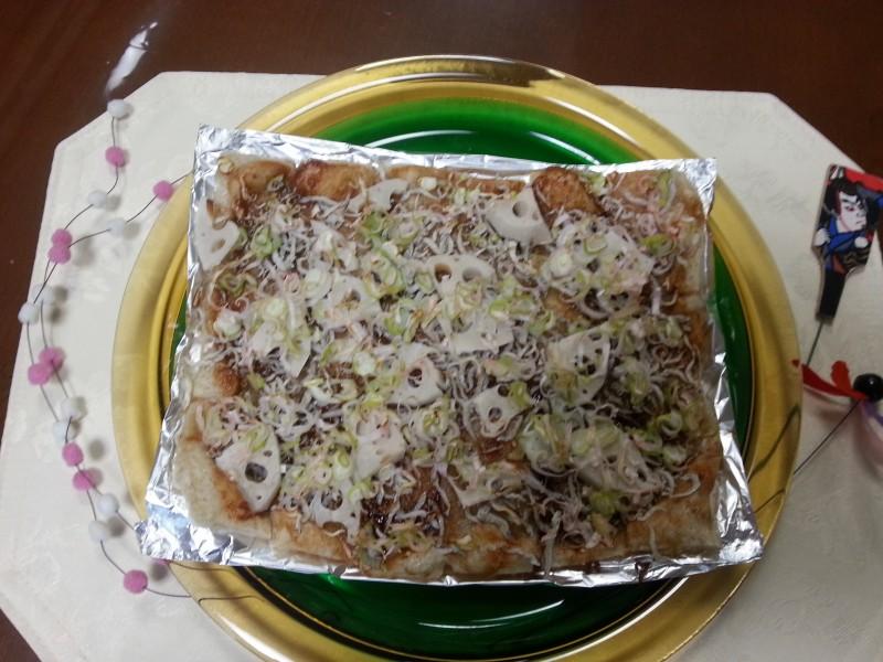 玄米もちのピザ